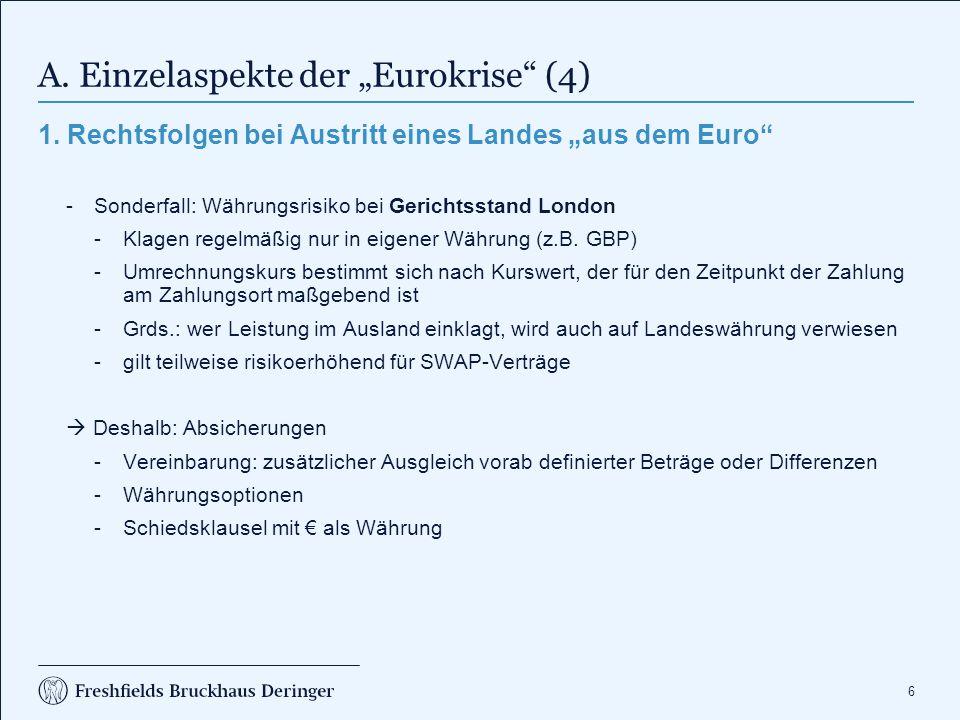 """A. Einzelaspekte der """"Eurokrise (5)"""