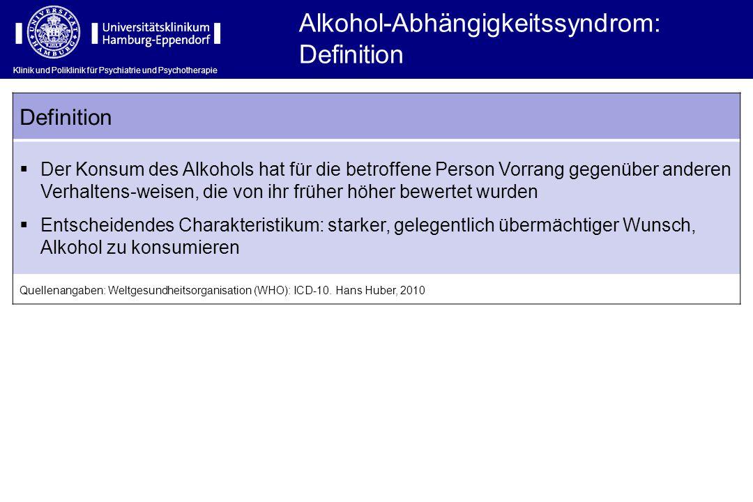 Alkohol-Abhängigkeitssyndrom: Definition