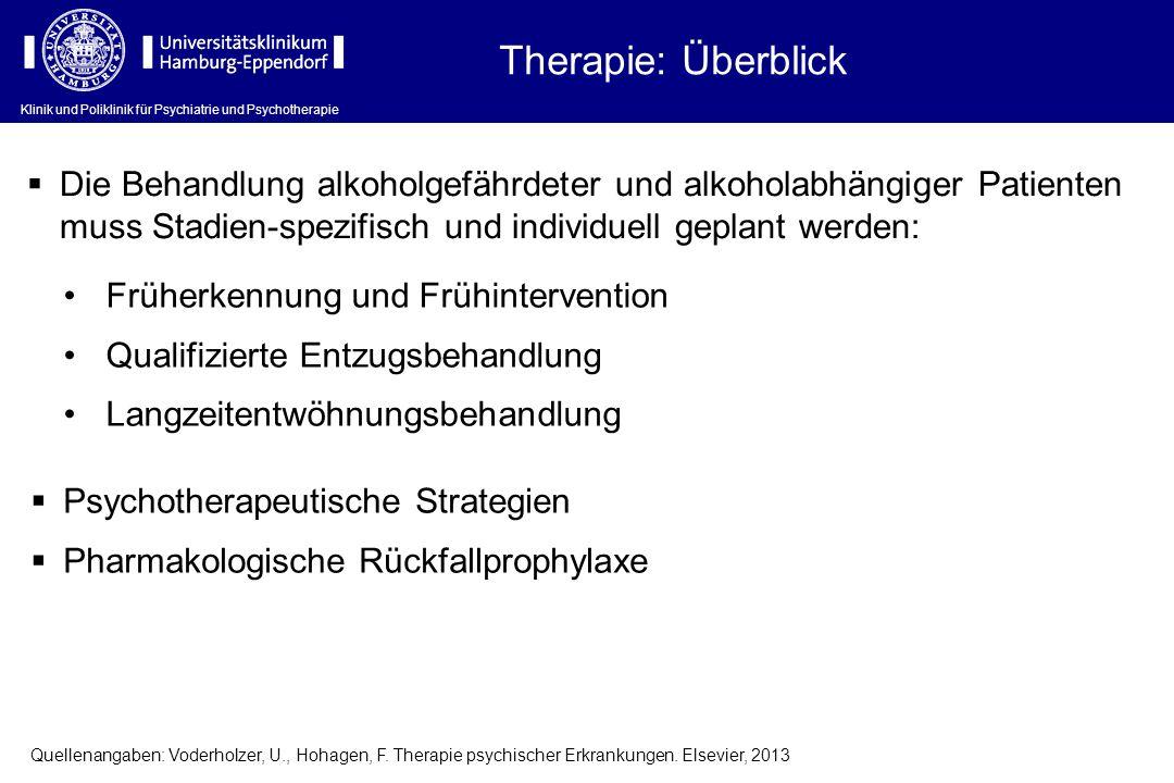 Therapie: Überblick Die Behandlung alkoholgefährdeter und alkoholabhängiger Patienten muss Stadien-spezifisch und individuell geplant werden: