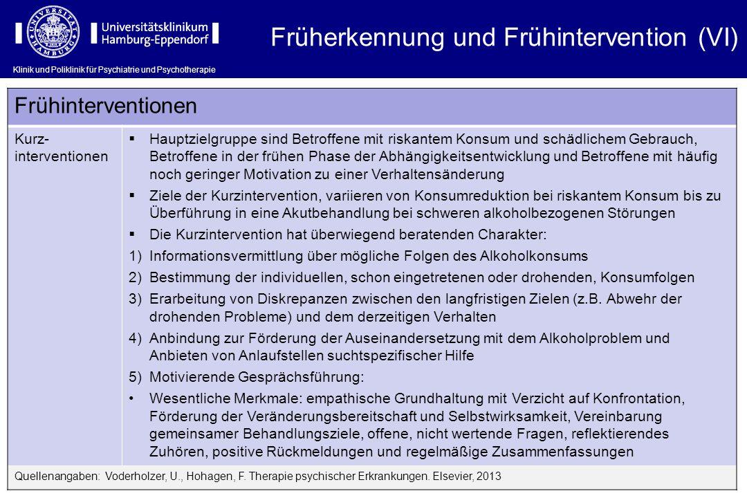 Früherkennung und Frühintervention (VI)