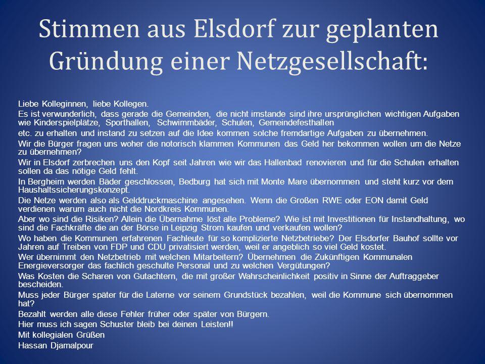 Stimmen aus Elsdorf zur geplanten Gründung einer Netzgesellschaft:
