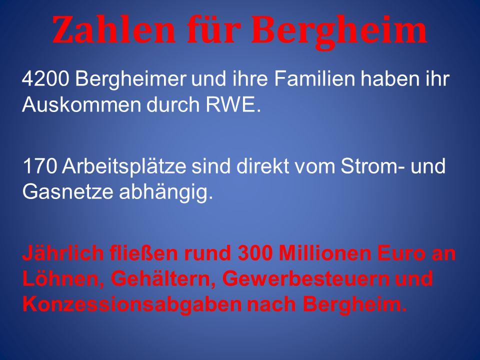 Zahlen für Bergheim 4200 Bergheimer und ihre Familien haben ihr Auskommen durch RWE. 170 Arbeitsplätze sind direkt vom Strom- und Gasnetze abhängig.