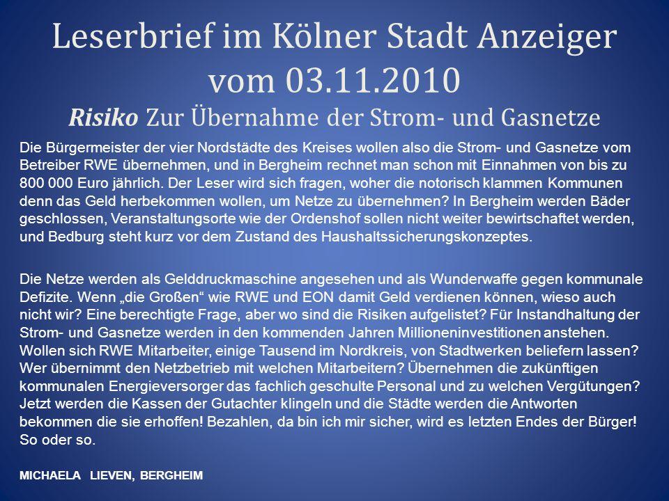 Leserbrief im Kölner Stadt Anzeiger vom 03. 11