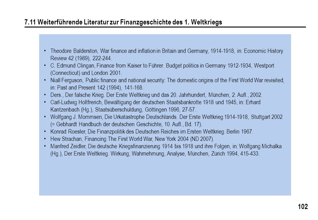 7.11 Weiterführende Literatur zur Finanzgeschichte des 1. Weltkriegs