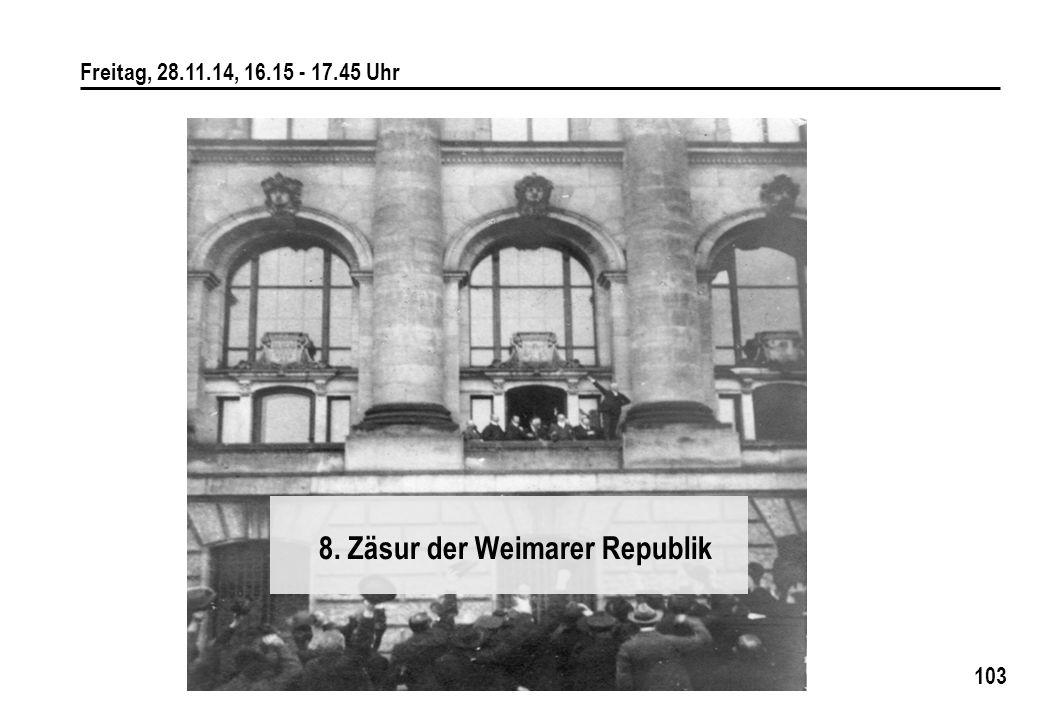 8. Zäsur der Weimarer Republik