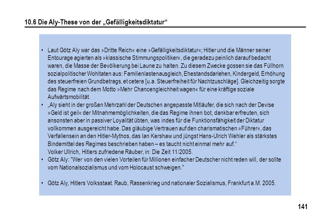 """10.6 Die Aly-These von der """"Gefälligkeitsdiktatur"""