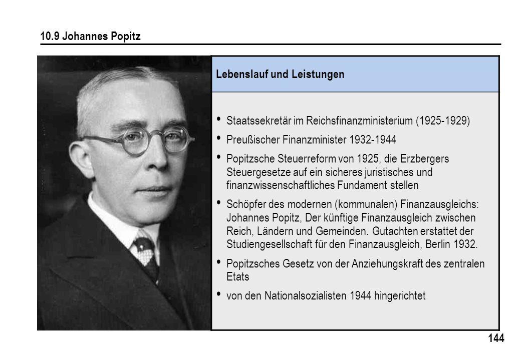 10.9 Johannes Popitz Lebenslauf und Leistungen. Staatssekretär im Reichsfinanzministerium (1925-1929)