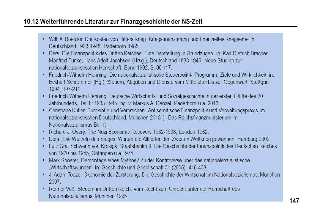 10.12 Weiterführende Literatur zur Finanzgeschichte der NS-Zeit