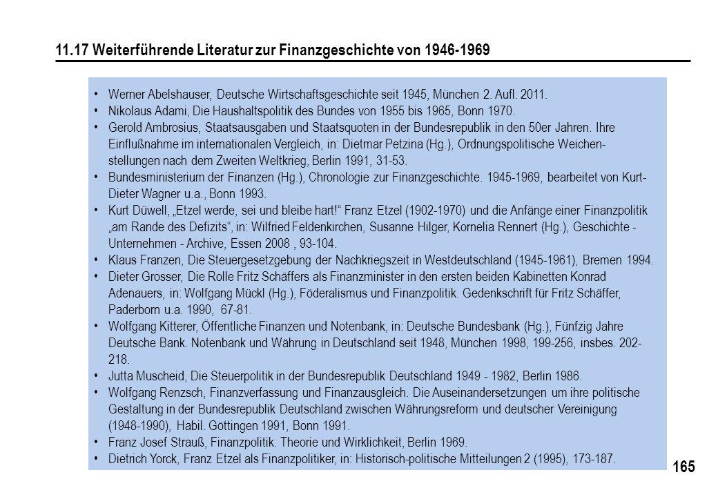 11.17 Weiterführende Literatur zur Finanzgeschichte von 1946-1969