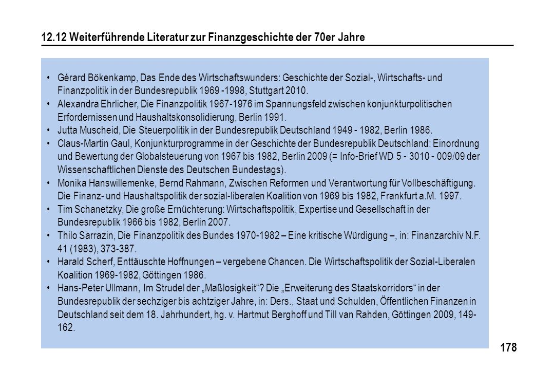 12.12 Weiterführende Literatur zur Finanzgeschichte der 70er Jahre