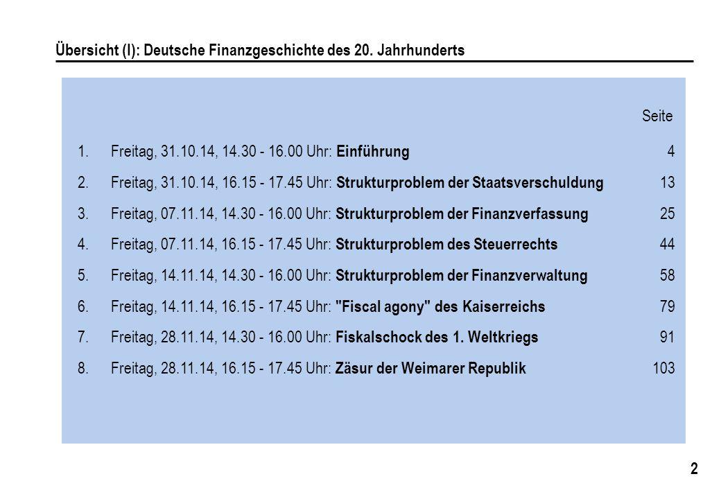 Übersicht (I): Deutsche Finanzgeschichte des 20. Jahrhunderts