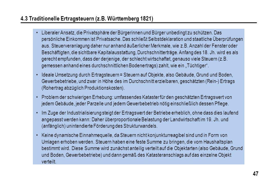 4.3 Traditionelle Ertragsteuern (z.B. Württemberg 1821)