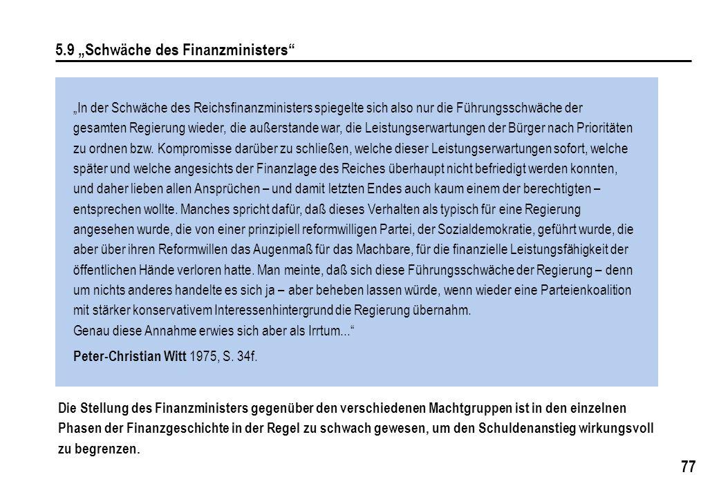 """5.9 """"Schwäche des Finanzministers"""