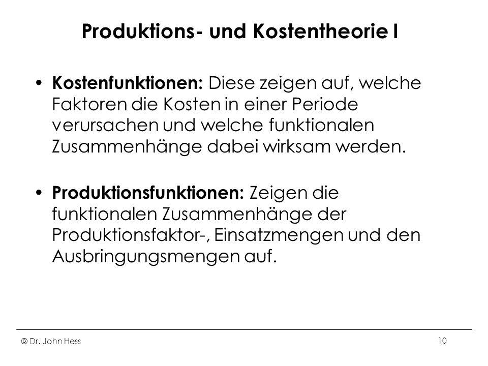 Produktions- und Kostentheorie I