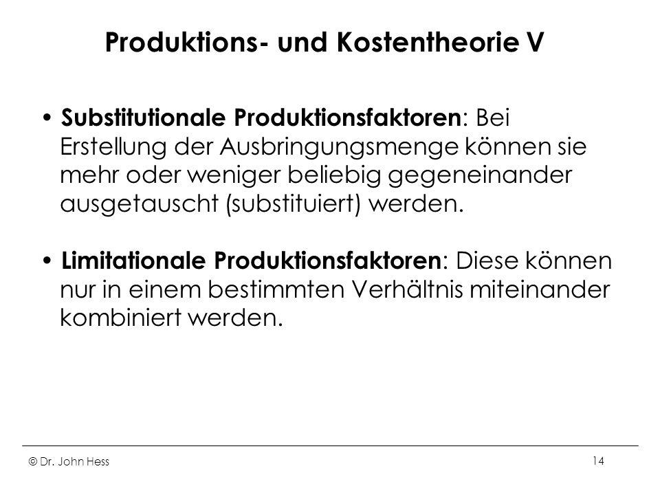 Produktions- und Kostentheorie V
