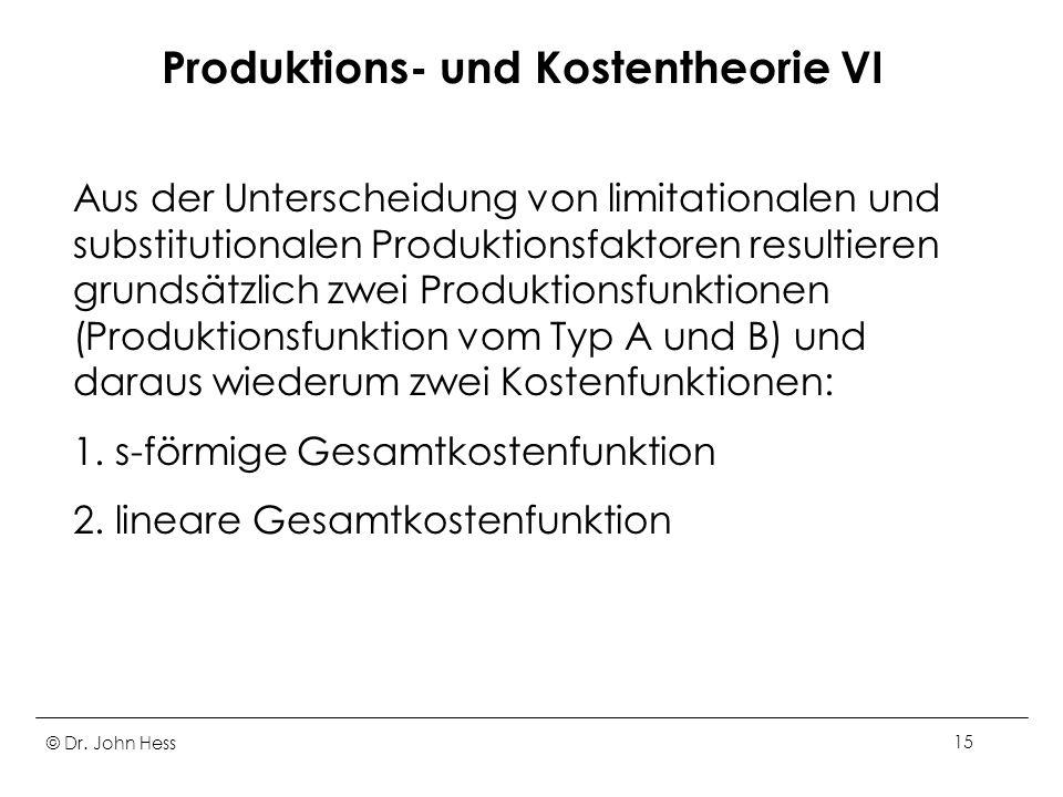 Produktions- und Kostentheorie VI