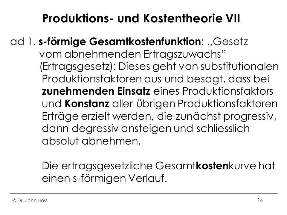Produktions- und Kostentheorie VII