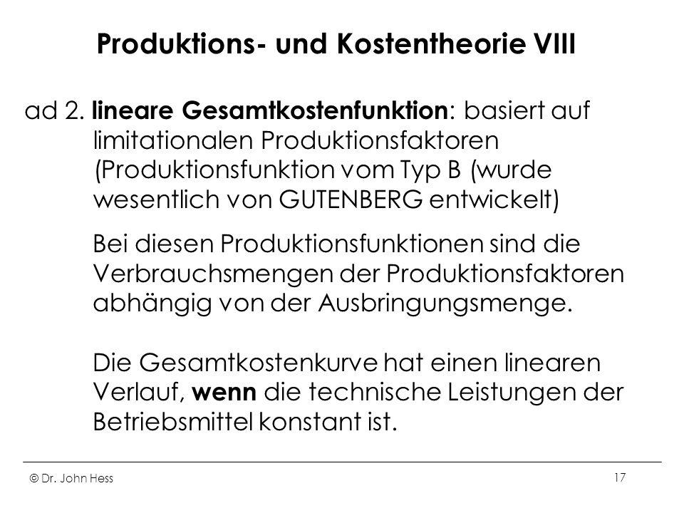 Produktions- und Kostentheorie VIII