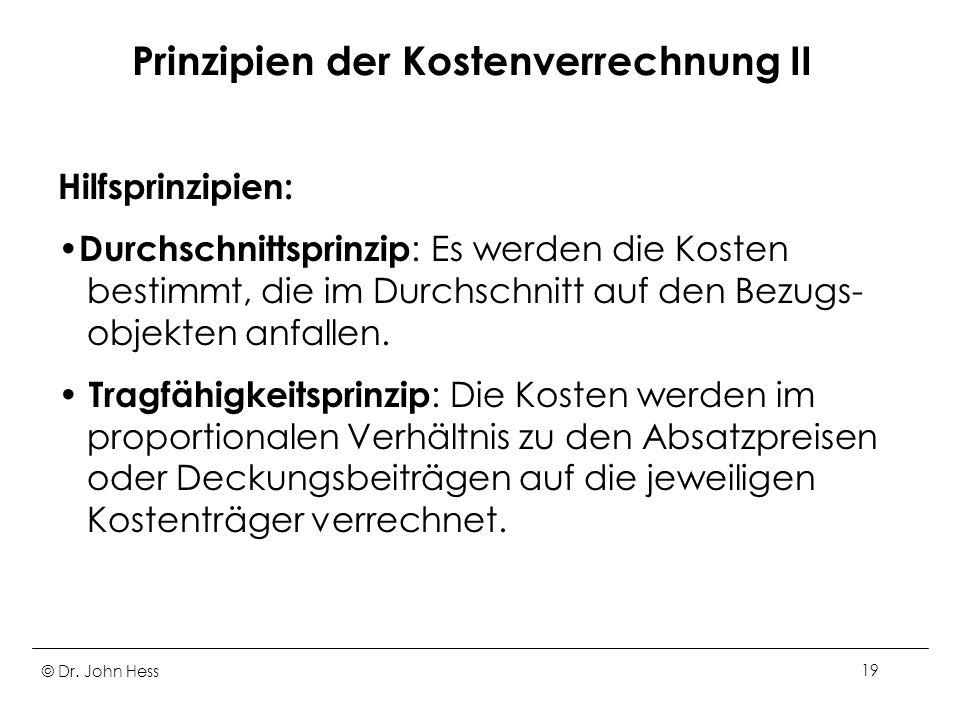 Prinzipien der Kostenverrechnung II