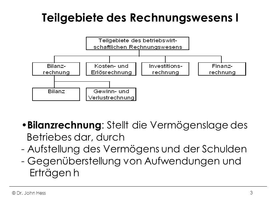 Teilgebiete des Rechnungswesens I
