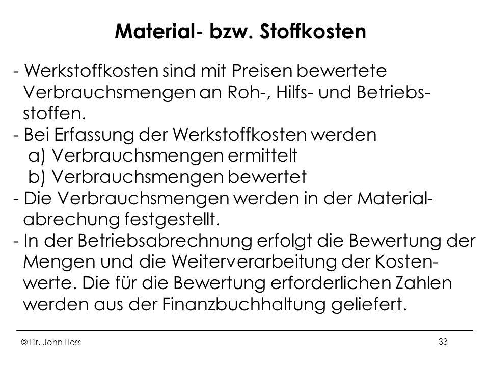 Material- bzw. Stoffkosten