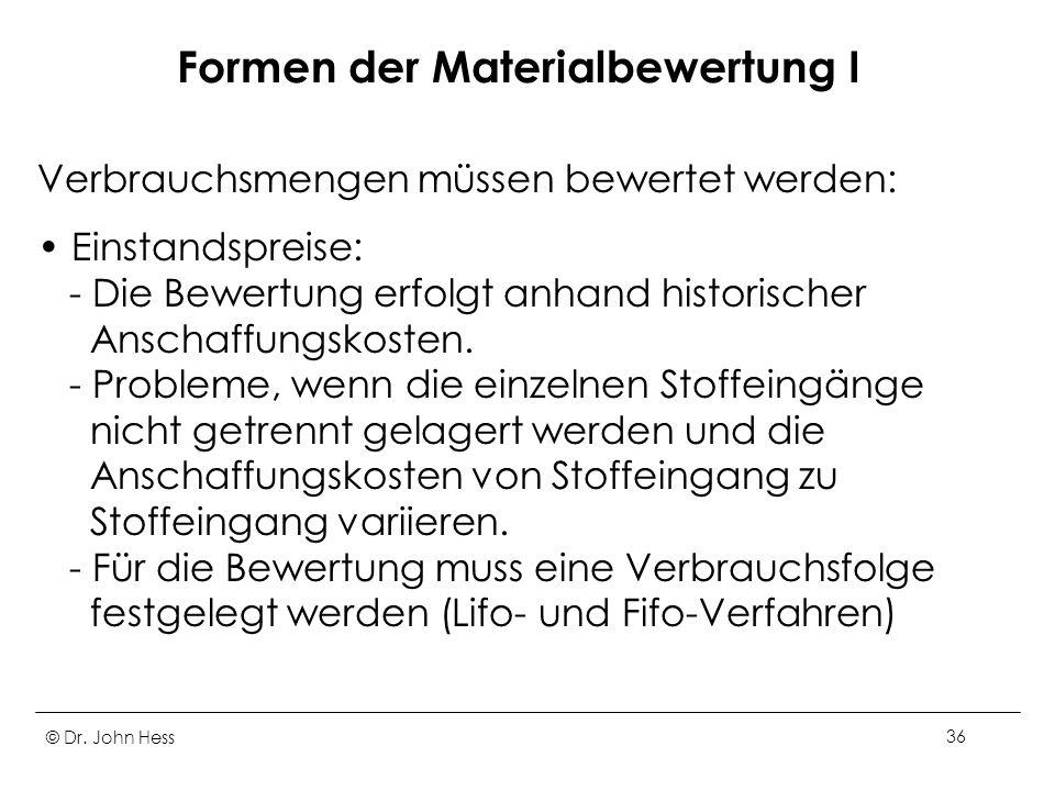 Formen der Materialbewertung I