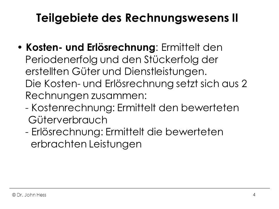 Teilgebiete des Rechnungswesens II