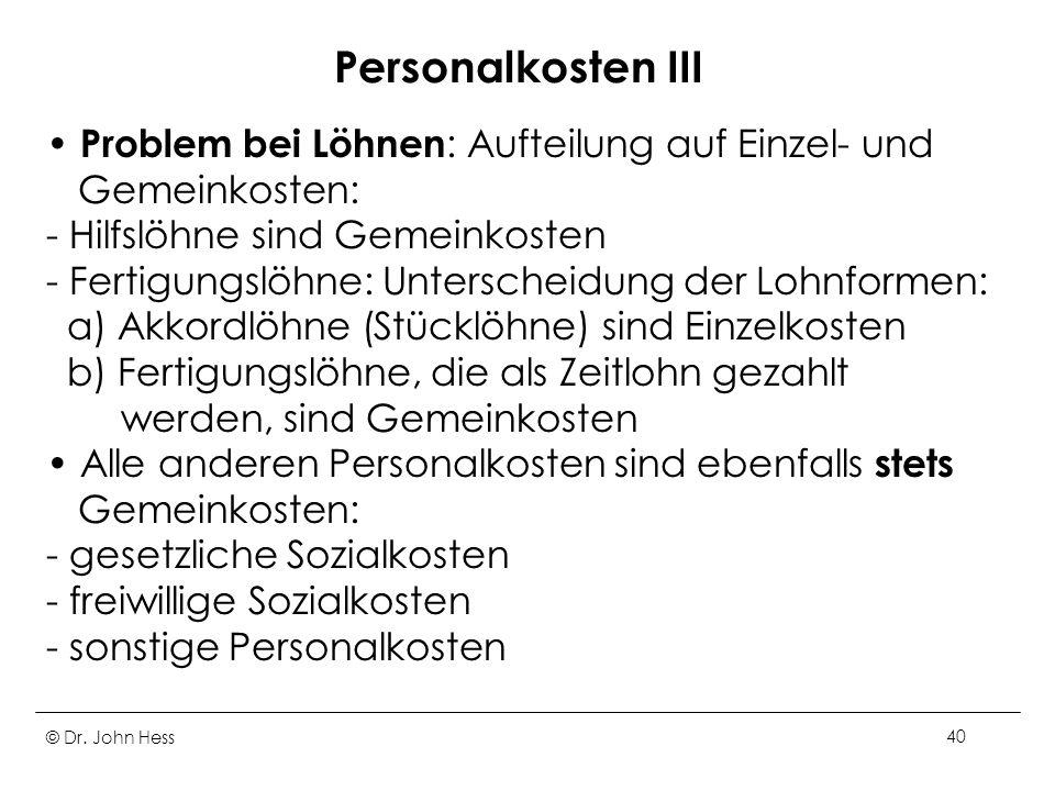 Personalkosten III