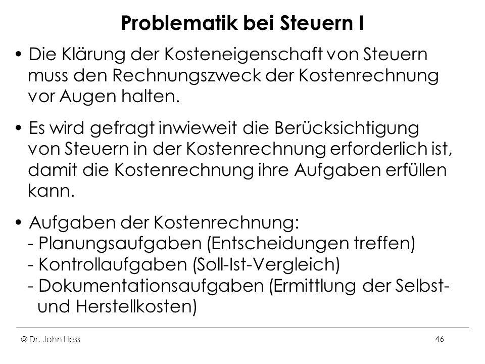 Problematik bei Steuern I