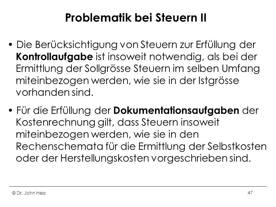 Problematik bei Steuern II
