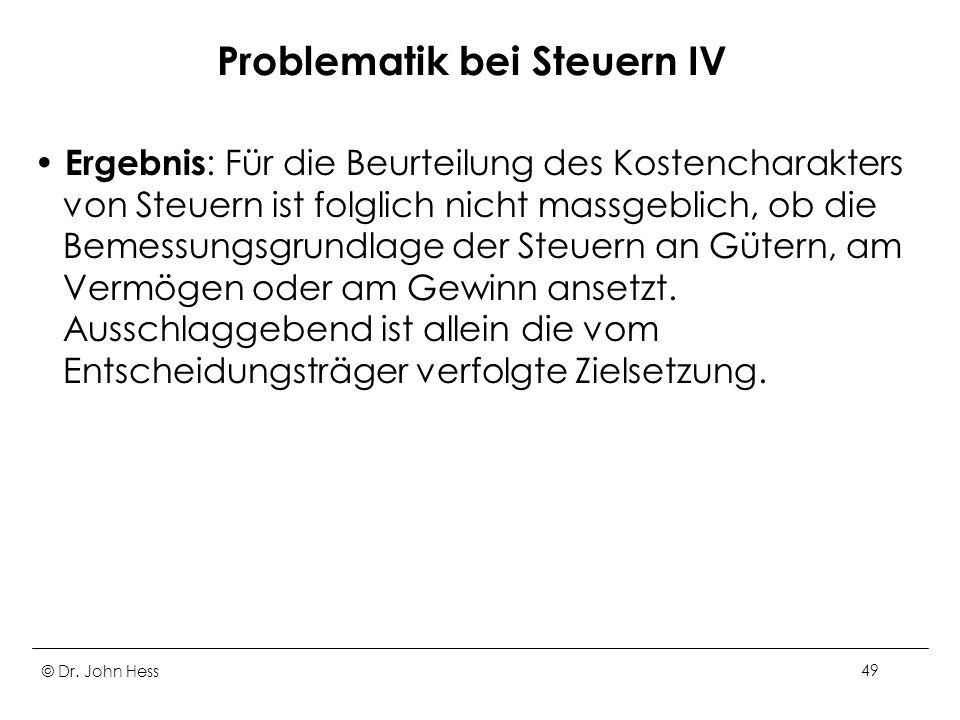Problematik bei Steuern IV