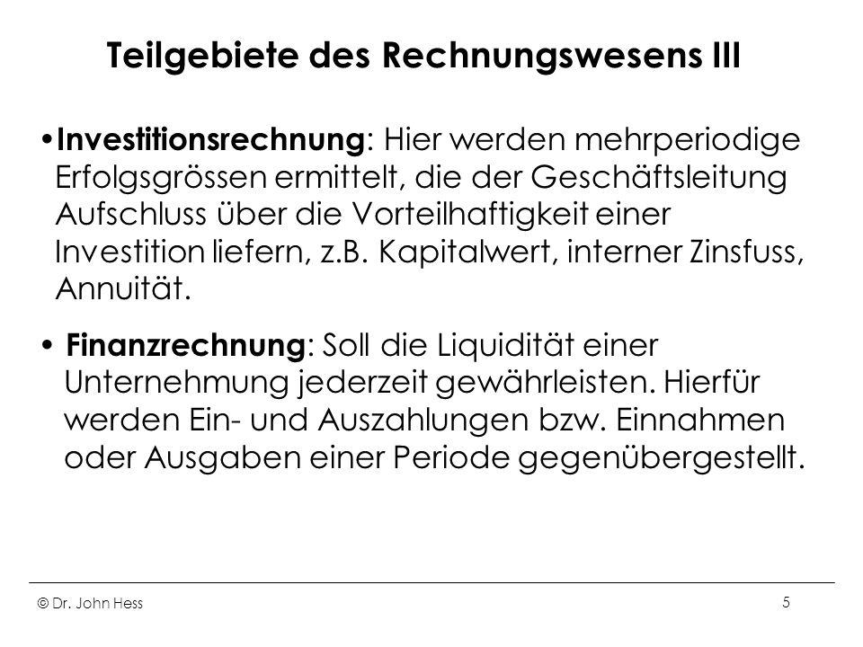 Teilgebiete des Rechnungswesens III