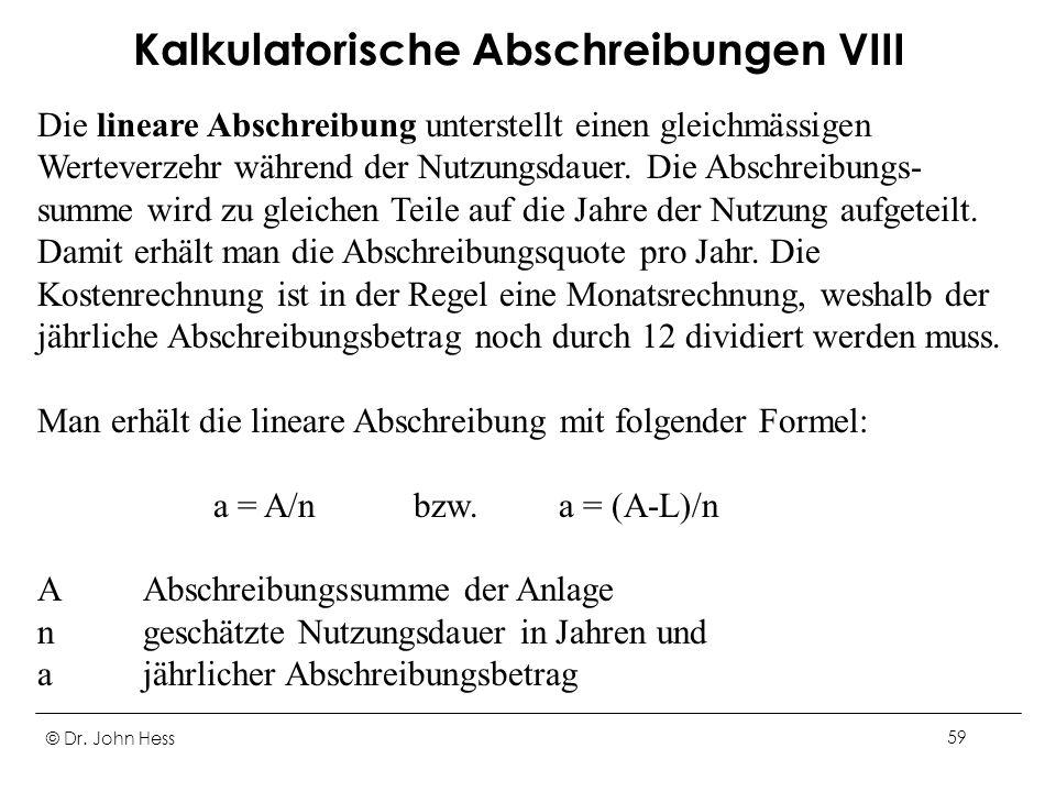 Kalkulatorische Abschreibungen VIII