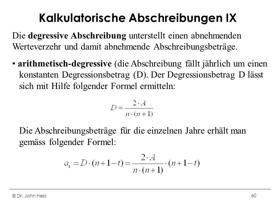 Kalkulatorische Abschreibungen IX