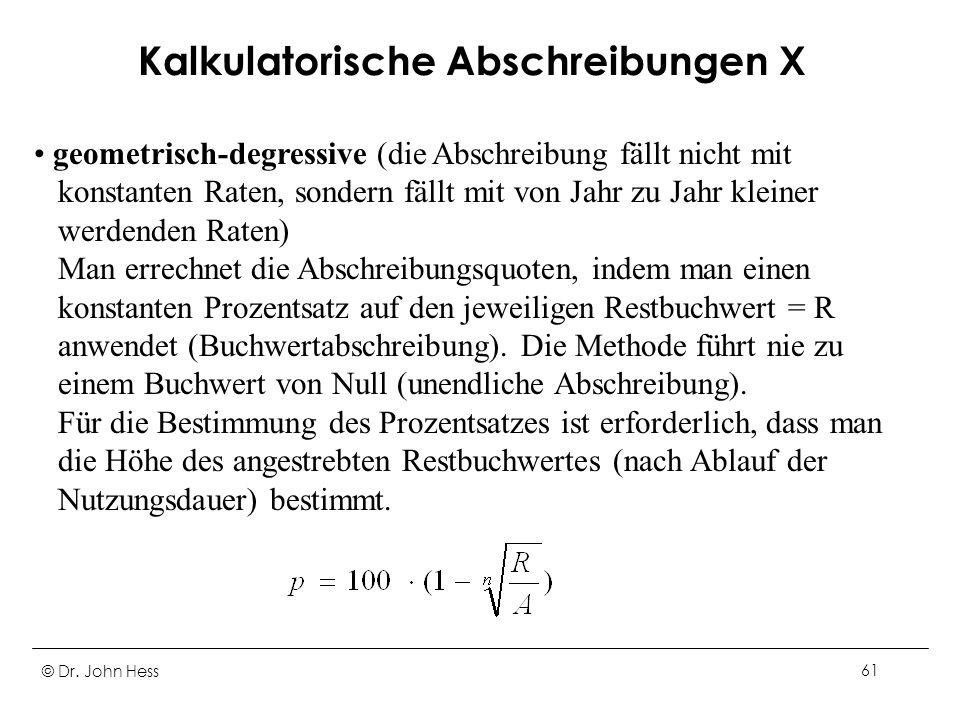 Kalkulatorische Abschreibungen X