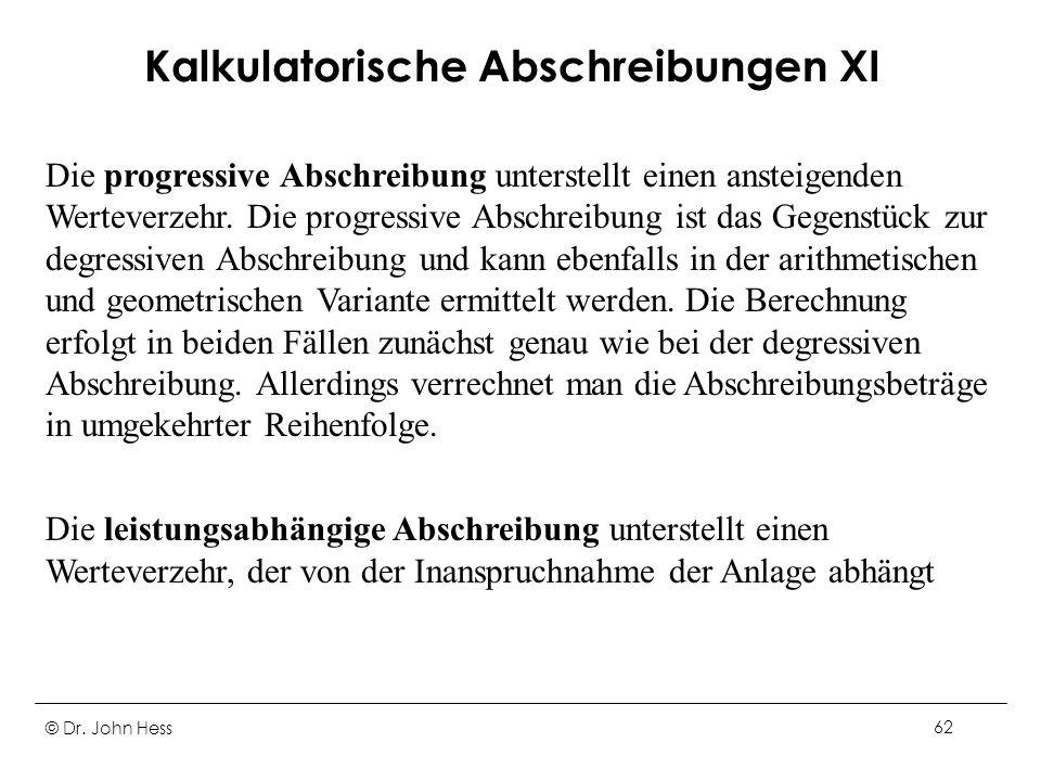 Kalkulatorische Abschreibungen XI