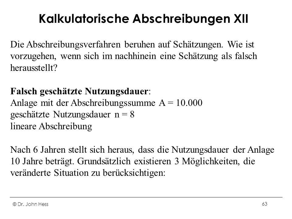 Kalkulatorische Abschreibungen XII
