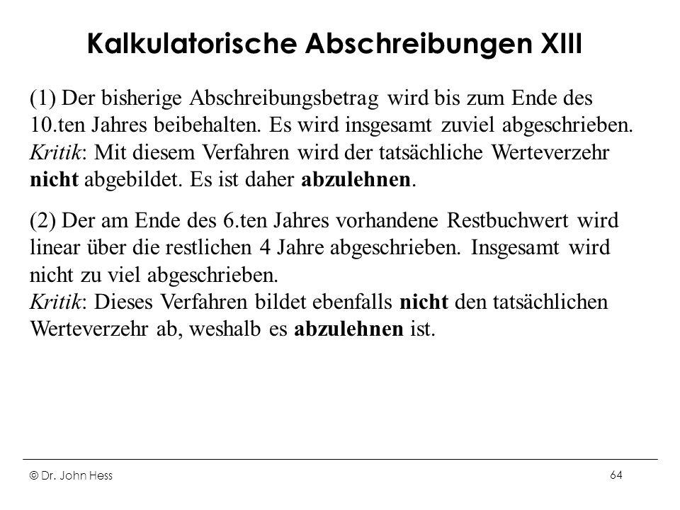 Kalkulatorische Abschreibungen XIII