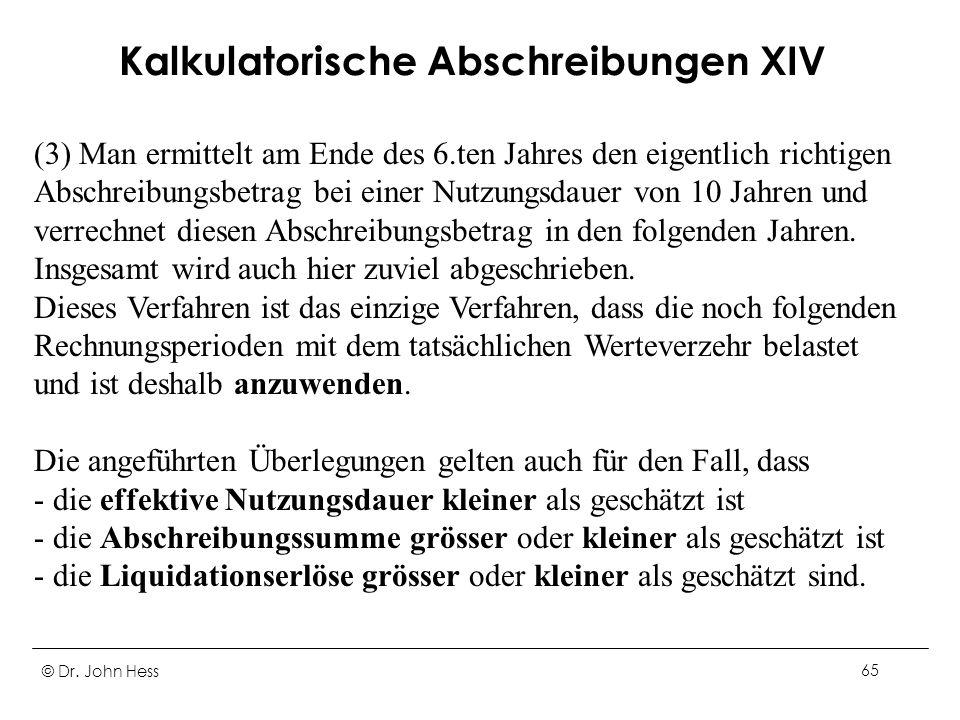 Kalkulatorische Abschreibungen XIV