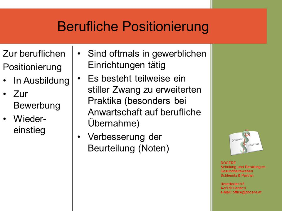 Berufliche Positionierung