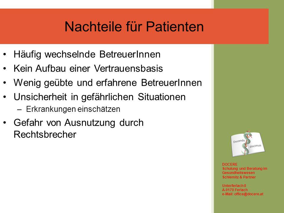Nachteile für Patienten