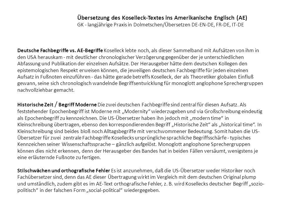 Übersetzung des Koselleck-Textes ins Amerikanische Englisch (AE)