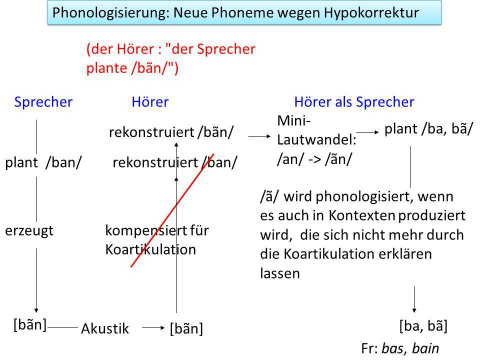 Phonologisierung: Neue Phoneme wegen Hypokorrektur