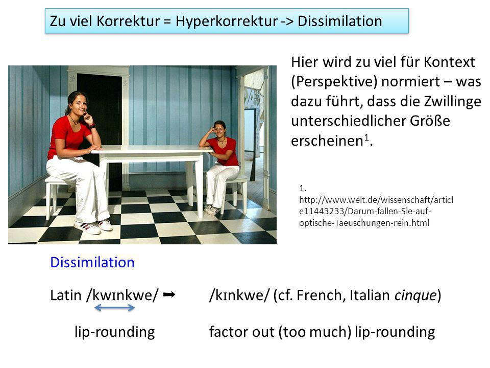 Zu viel Korrektur = Hyperkorrektur -> Dissimilation