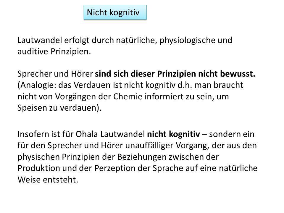 Nicht kognitiv Lautwandel erfolgt durch natürliche, physiologische und auditive Prinzipien.