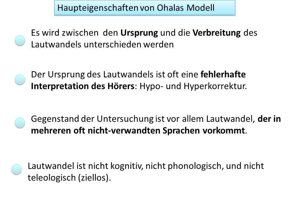 Haupteigenschaften von Ohalas Modell
