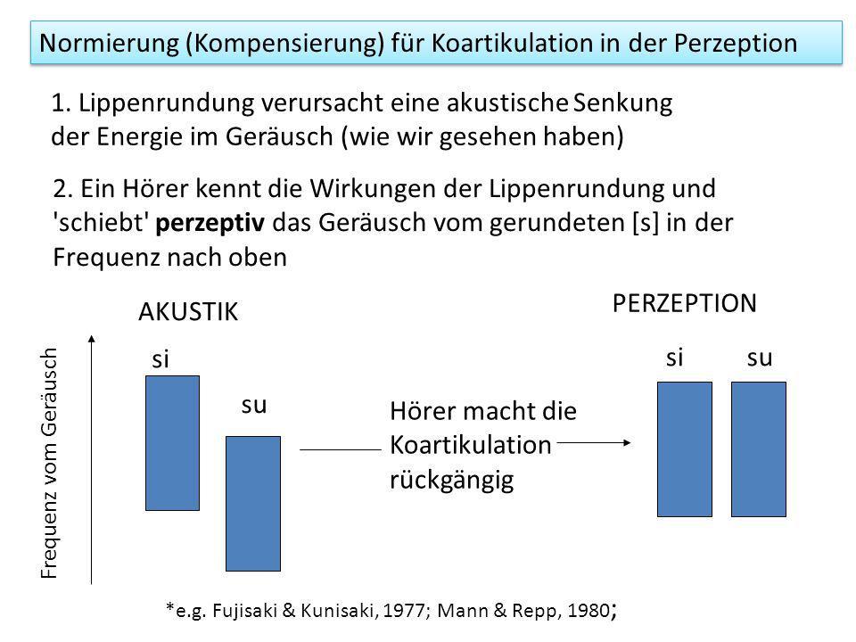 Normierung (Kompensierung) für Koartikulation in der Perzeption