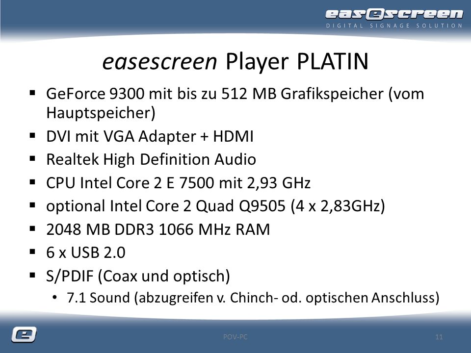 easescreen Player PLATIN