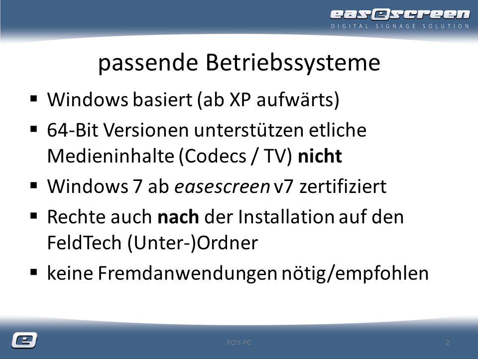 passende Betriebssysteme