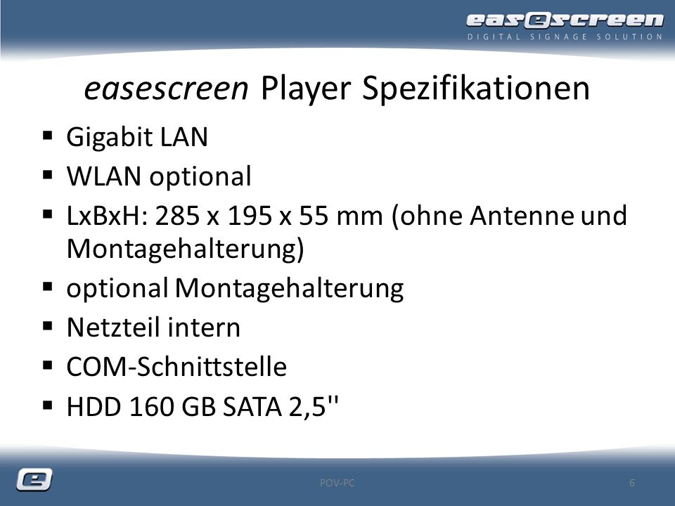 easescreen Player Spezifikationen